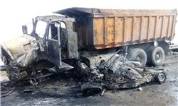 تصادف شدید اتوبوس و کامیون در محور ساری تاکام