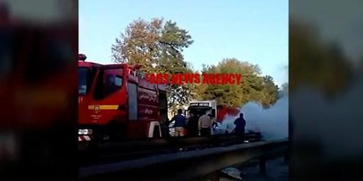 آتش گرفتن و انفجار خودروی پیکان در محور علیآباد کتول به گرگان/ راننده مجروح و در «آی سی یو» بستری است