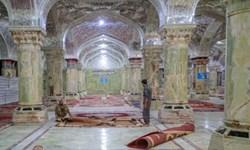 آمادهسازی صحن حضرت زهرا (س) برای روزهای پایانی ماه صفر+ عکس
