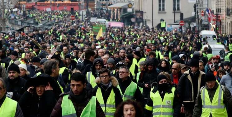 فیلم| معترضان فرانسوی برای شصتوچهارمین هفته به تظاهرات پرداختند