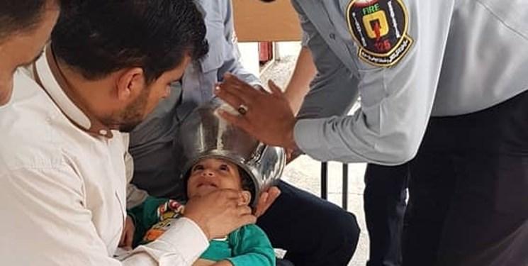 امدادرسانی آتشنشانی به کودک بازیگوش لودابی