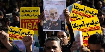 فیلم| خروش انقلابی بیرجندیها در پی شهادت «سردار سلیمانی»