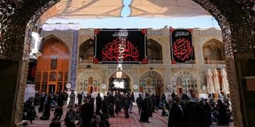 حرم علوی به مناسبت ایام فاطمیه سیاهپوش شد +عکس
