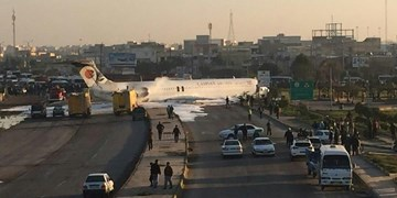خروج بوئینگ کاسپین از باند فرودگاه ماهشهر و ورود به اتوبان ماهشهر ـ اهواز/ مسافران آسیب ندیدند+فیلم
