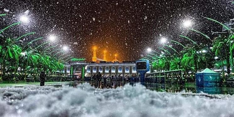 بارش بیسابقه برف در نجف و کربلا +تصاویر