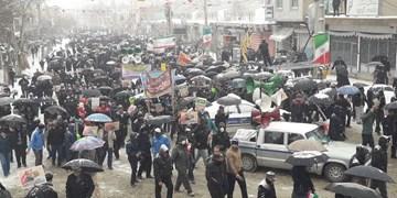 راهپیمایی برفی ۲۲ بهمن در نهاوند