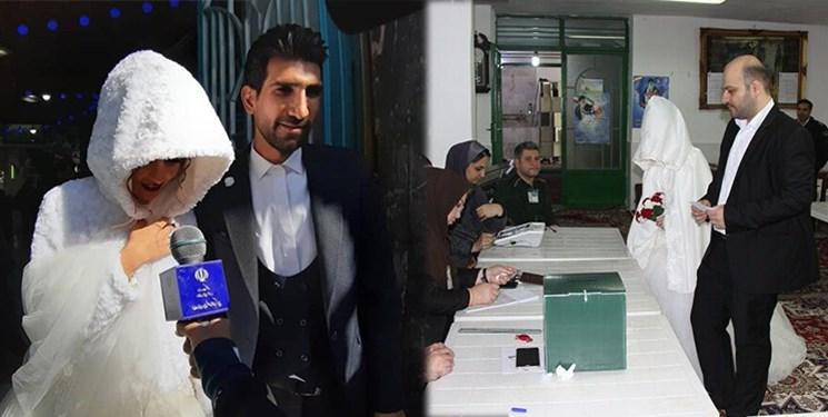 عکس| حضور عروس و دامادها در انتخابات