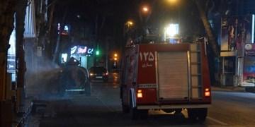اجرای  مانور ضدعفونی معابر شهری در مرکز مازندران