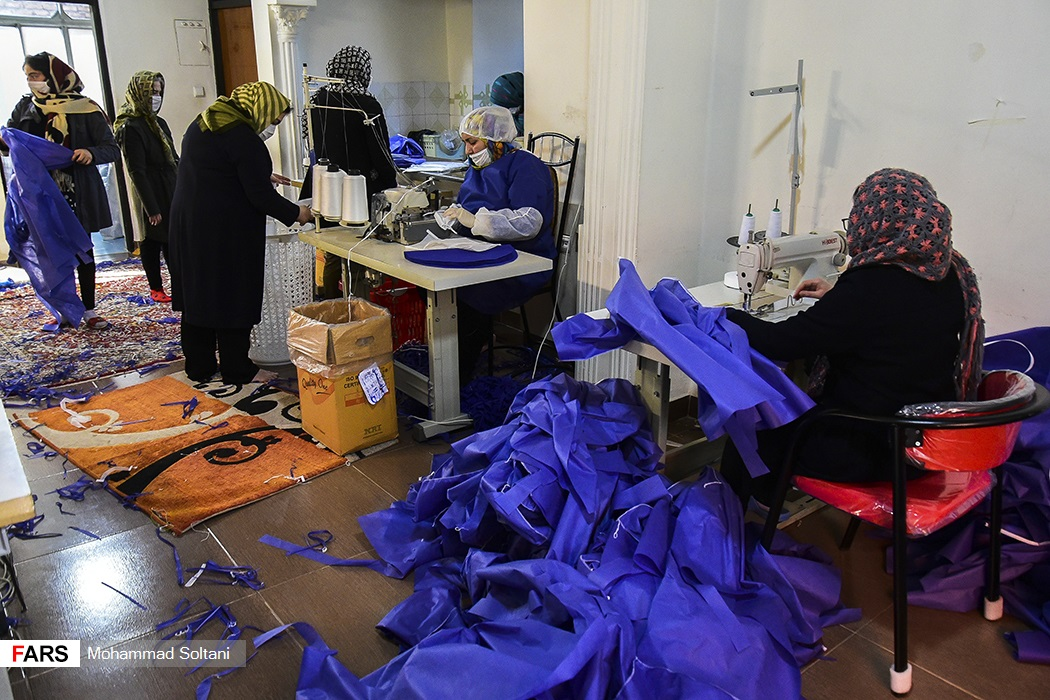 Women produced masks at a factory in Qaemshahr.