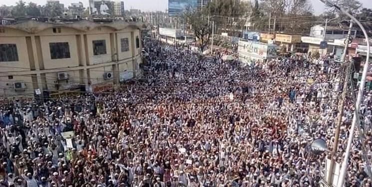فیلم و عکس| تظاهرات در بنگلادش علیه کشتار مسلمانان در هند