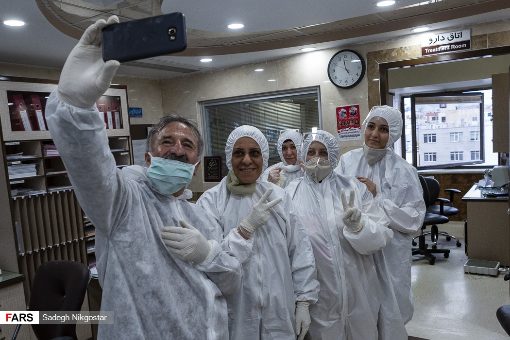Medical personnel took a selfie at a hospital in Tehran