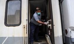 فیلم| ضدعفونی قطارها و ایستگاه راهآهن اهواز