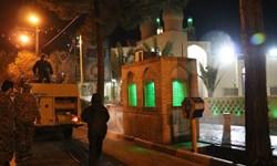فیلم|ضدعفونی اماکن عمومی توسط گروه جهادی شهید مهدی نوروزی