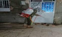 ضدعفونی کردن معابر و اماکن عمومی قلعهگنج توسط جهادگران سپاه