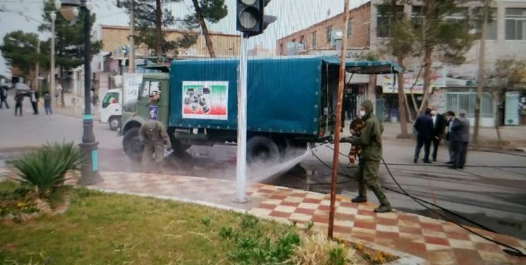 ضدعفونی معابر و اماکن عمومی خواف به همت قرارگاه منطقهای ثامن الائمه(ع)