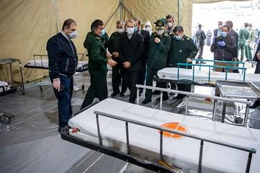 بازدید رئیس مجلس از نقاهتگاه بیمارستان صحرایی شهید صدوقی نیروی زمینی سپاه