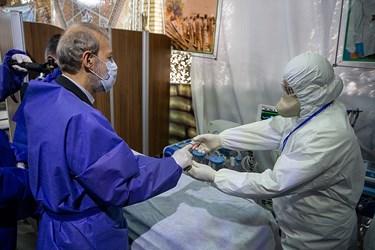 تست سلامت از علی لاریجانی رئیس مجلس در بیمارستان صحرایی شهید صدوقی