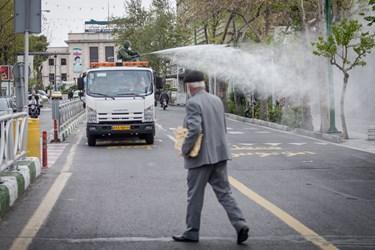 ضد عفونی معابر خیابان ولیعصر