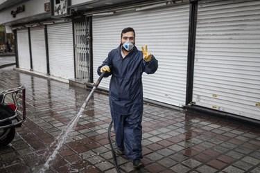ضد عفونی معابر و خیابان های تهران