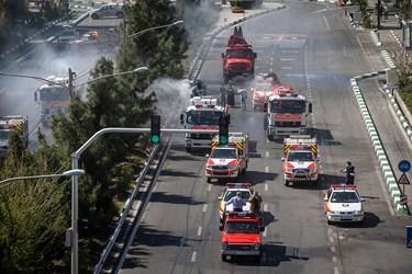 عملیات ضدعفونی منطقه 15 و 14 توسط آتش نشانی