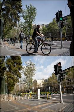 خیابان انقلاب تقاطع خیابان 16 آذر عکس بالا 24 فروردین 98 و عکس پایین 6 فروردین 99