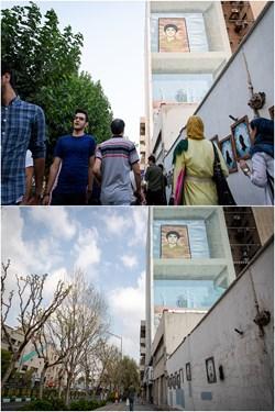 خیابان انقلاب تقاطع خیابان دانشگاه عکس بالا 3 تیر 98 و عکس پایین 6 فروردین 99