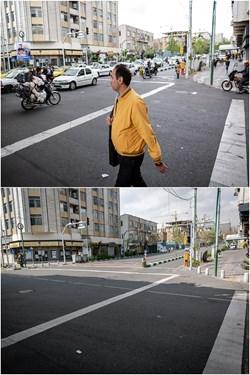 خیابان انقلاب تقاطع خیابان حافظ عکس بالا 3 اردیبهشت 98 و عکس پایین 6 فروردین 99