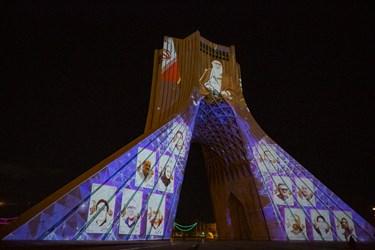 نمایش تصاویر شهدای مدافع سلامت در ویدئو مپینگ آزادی