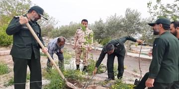 کاشت نهال میوه به نیت تکریم شهدای مدافع سلامت در رفسنجان