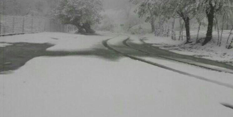 بارش برف بهاری در ارتفاعات آستارا