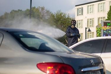 ضدعفونی کردن خودرو های عبوری