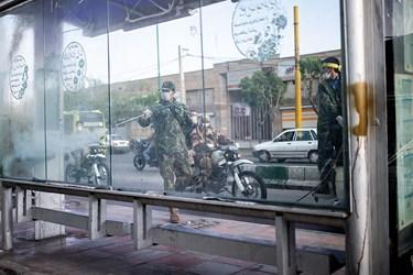 ضدعفونی کردن ایستگاه های اتوبوس