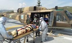 امدادرسانی هوایی به بیمار 80 ساله در کمیجان+ تصاویر