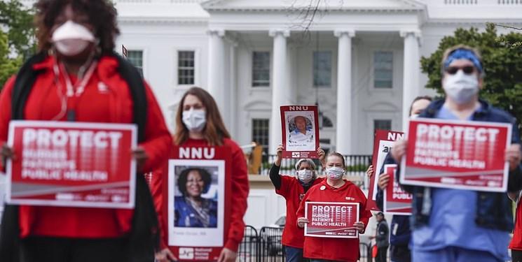 تصاویر| پرستاران آمریکایی در اعتراض به ناتوانی ترامپ در مبارزه با کرونا تجمع کردند