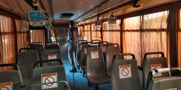 رعایت فاصلهگذاری اجتماعی در ناوگان حمل و نقل عمومی شهرکرد