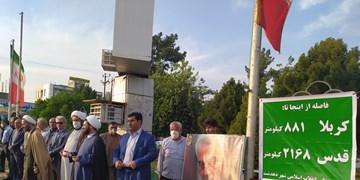 راهپیمایی نمادین «الی بیتالمقدس» در دهدشت برگزار شد+تصاویر