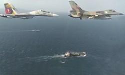 تصاویر جدید از اسکورت نفتکش «فارست» توسط هواپیماها و ناوهای جنگی ونزوئلا