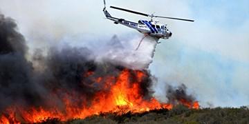 آغاز عملیات اطفاءحریق جنگلهای ارسباران با پرواز بالگرد هلال احمر