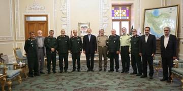 دیدار فرماندهان ارشد نیروهای مسلح با علی لاریجانی
