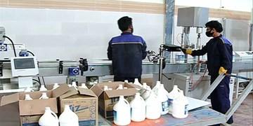 کارخانهای که پیش از افتتاح رسمی خط تولید مواد ضدعفونی کننده راه انداخت