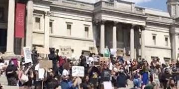 فیلم | تجمع حمایت از «جورج فلوید» در آمریکا به «لندن» کشیده شد