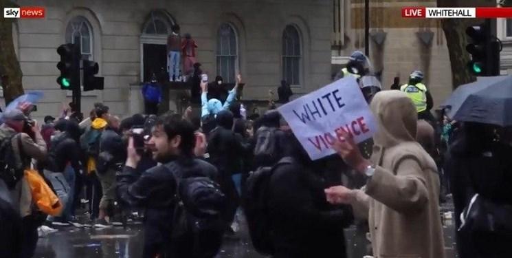 فیلم  | درگیری پلیس لندن با تظاهرات کنندگان ضد نژادپرستی