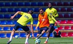 چیپ تماشایی مسی در تمرینات بارسلونا