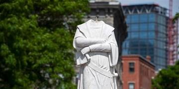 معترضان به تبعیض نژادی سر مجسمه «کاشف آمریکا» را در بوستون قطع کردند