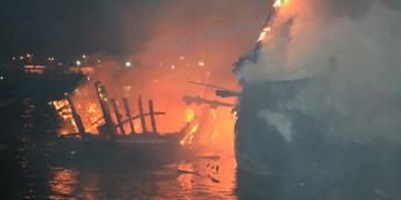 عکس|  آتشسوزی در بندر صیادی «کنگ»