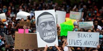 تظاهرات ضد نژادپرستی لندنیها در برابر سفارت آمریکا