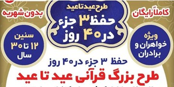 اجرای طرح «عید تا عید» ویژه حفظ ۳ جزء قرآن کریم به صورت مجازی