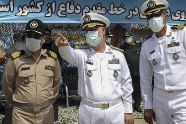 امیر دریادار حسین خانزادی فرمانده نیروی دریایی ارتش در رزمایش موشکی ارتش در شمال اقیانوس هند