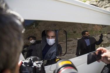 بازدید رئیس سازمان برنامه و بودجه، وزیر راه و رئیس بنیاد مستضعفان از منطقه 2 آزادراه تهران ـ شمال