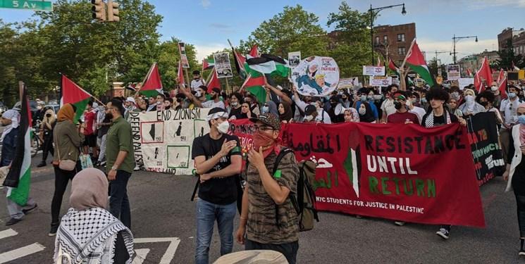 فیلم | تظاهرات صدها نفری در نیویورک علیه طرح آمریکایی اشغال کرانه باختری